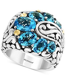 EFFY® Blue Topaz Statement Ring (4-3/4 ct. t.w.) in Sterling Silver & 18k Gold