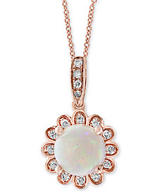 "EFFY® Opal (1/2 ct. t.w.) & Diamond Accent Floral 18"" Pendant Necklace in 14k Rose Gold"