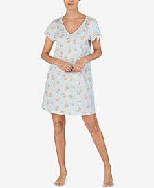 Lauren Ralph Lauren Cotton Printed Tie-Sleeve Nightgown