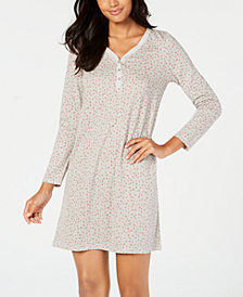Charter Club Cotton Long Sleeve Printed Sleepshirt, Created for Macy's