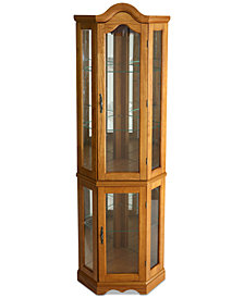 Lighted Corner Curio Cabinet, Quick Ship
