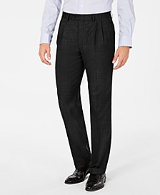 Men's Classic-Fit UltraFlex Stretch Solid Pleated Cuffed Dress Pants