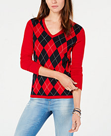 Tommy Hilfiger Cotton Argyle-Front Sweater, Created for Macy's