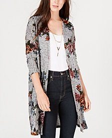 BCX Juniors' Floral Ribbed-Knit Duster Cardigan
