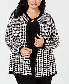 Anne Klein Plus Size Jacquard Cardigan