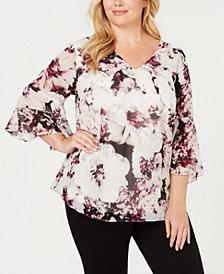 Calvin Klein Plus Size Floral-Print Top