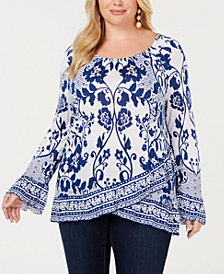 I.N.C. Plus Lace-Print Bell-Sleeve Top, Created for Macy's
