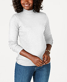Karen Scott Petite Cotton Mock-Neck Top, Created for Macy's