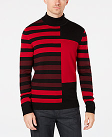 Alfani Men's Regular-Fit Colorblocked Stripe Turtleneck Sweater, Created for Macy's