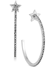 "Lucky Brand Silver-Tone Star & Pavé 1-1/2"" Hoop Earrings, Created for Macy's"