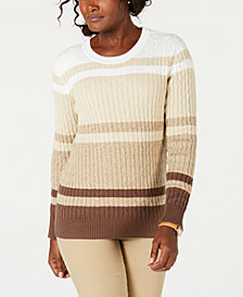 Karen Scott Striped Cotton Sweater, Created for Macy's