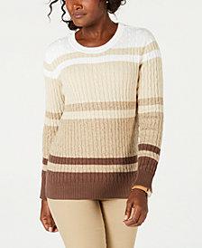 Karen Scott Striped Cotton Sweater, Created for Macy's