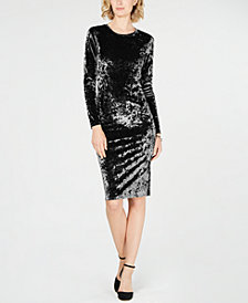 MICHAEL Michael Kors Crushed Velvet Dress in Regular & Petite Sizes