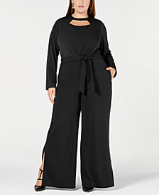 NY Collection Plus & Petite Plus Size Cutout Wide-Leg Jumpsuit