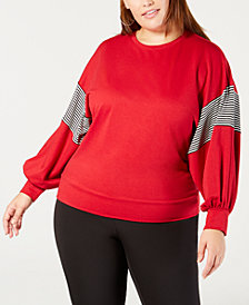 NY Collection Plus Size Balloon-Sleeve Sweatshirt