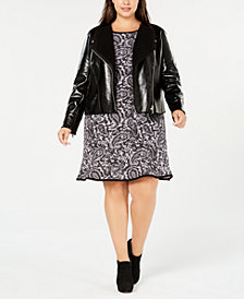 MICHAEL Micheal Kors Plus Size Moto Jacket & Printed Dress
