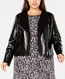 MICHAEL Michael Kors Plus Size Leather Jacket with Faux-Shearling Trim
