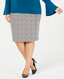 MICHAEL Michael Kors Plus Size Checked Jacquard Pencil Skirt