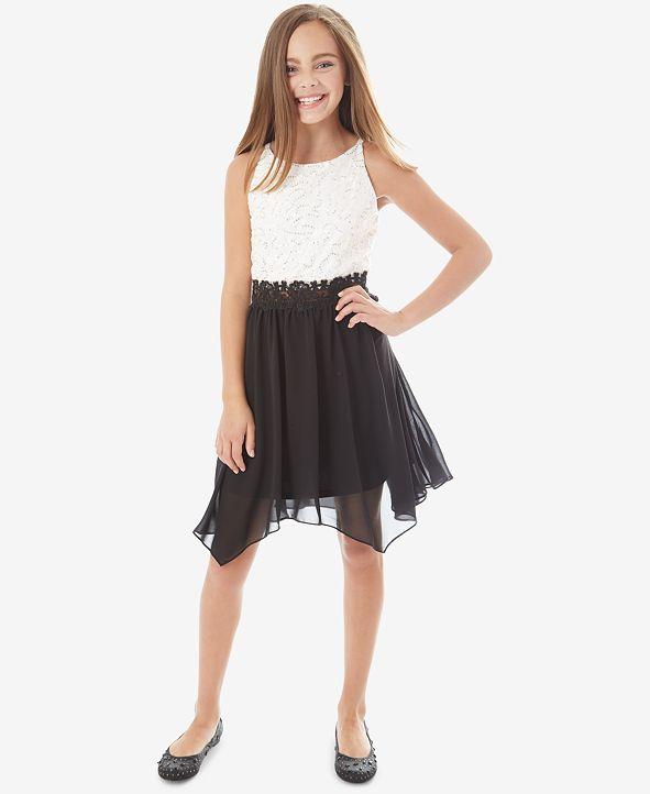 BCX Big Girls Contrast Sequin Lace Dress