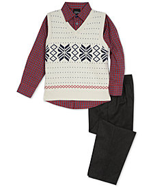 TFW Toddler Boys 3-Pc. Snowflake Sweater Vest, Shirt & Pants Set