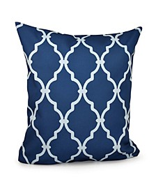 16 Inch Navy Blue Decorative Trellis Print Throw Pillow