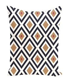 16 Inch Navy Blue and Brown Decorative Diamond Print Throw Pillow