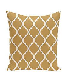 16 Inch Gold Decorative Trellis Print Throw Pillow