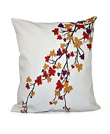 16 Inch Purple Decorative Floral Throw Pillow