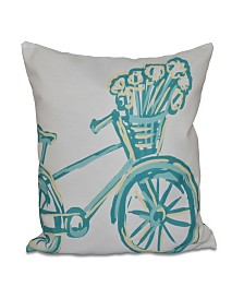 16 Inch Aqua Decorative Geometric Throw Pillow