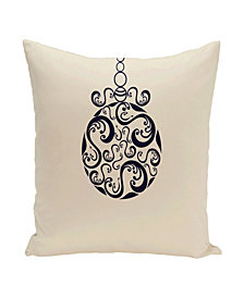 16 Inch Off White and Navy Blue Decorative Christmas Throw Pillow