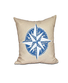 Compass 16 Inch Taupe and Blue Decorative Nautical Throw Pillow