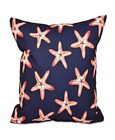 Soft Starfish 16 Inch Navy Blue and Orange Decorative Coastal Throw Pillow