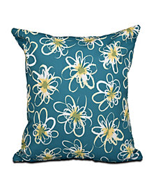 Penelope Floral 16 Inch Teal and Yellow Decorative Geometric Throw Pillow