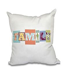 Family Fun 16 Inch Orange Decorative Word Print Throw Pillow