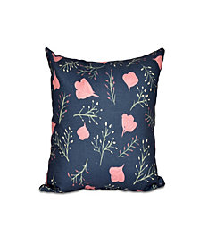 Spring Blooms 16 Inch Navy Blue and Coral Decorative Floral Throw Pillow