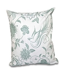 Traditional Bird Floral 16 Inch Green Decorative Floral Throw Pillow