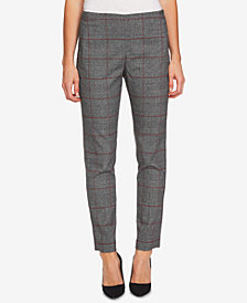 CeCe Plaid Straight-Leg Pants