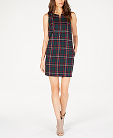 Trina Turk Plaid Sleeveless Zip-Front Dress