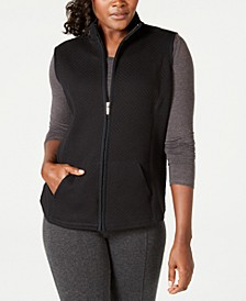Petite Quilted Zip-Front Fleece Vest, Created for Macy's
