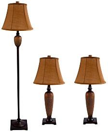 Elegant Designs 		Hammered Bronze Three Pack Lamp Set (2 Table Lamps, 1 Floor Lamp)