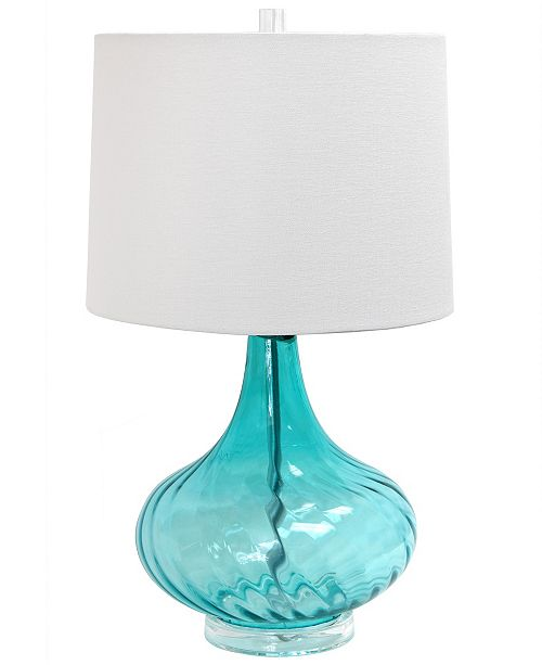 All The Rages Elegant Designs Glass Table Lamp with Fabric Shade
