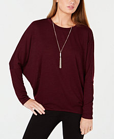 BCX Juniors' Necklace-Embellished Dolman-Sleeve Top