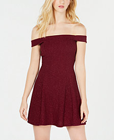Speechless Juniors' Glitter Off-The-Shoulder Dress