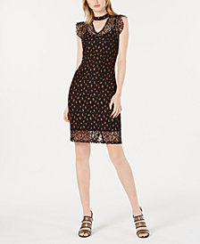 Bar III Lace Leopard-Print Choker Dress, Created for Macy's