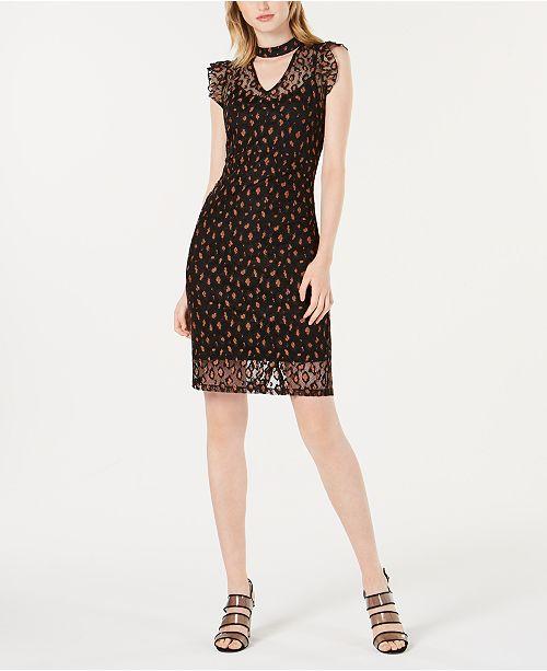 d51e7faf1a Bar III Lace Leopard-Print Choker Dress