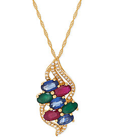 "Multi-Gemstone (2-1/4 ct. t.w.) & Diamond (1/8 ct. t.w.) 18"" Pendant Necklace in 14k Gold"