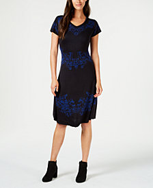 NY Collection Petite Intarsia Fit & Flare Sweater Dress