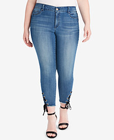 Jessica Simpson Trendy Plus Size Lace-Up Skinny Jeans