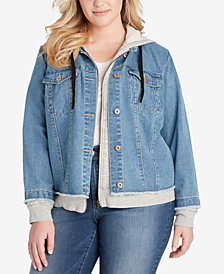 Jessica Simpson Trendy Plus Size Denim Hoodie Jacket
