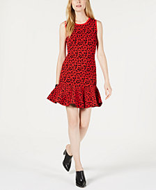 GUESS Alberta Printed Flounce Sweater Dress
